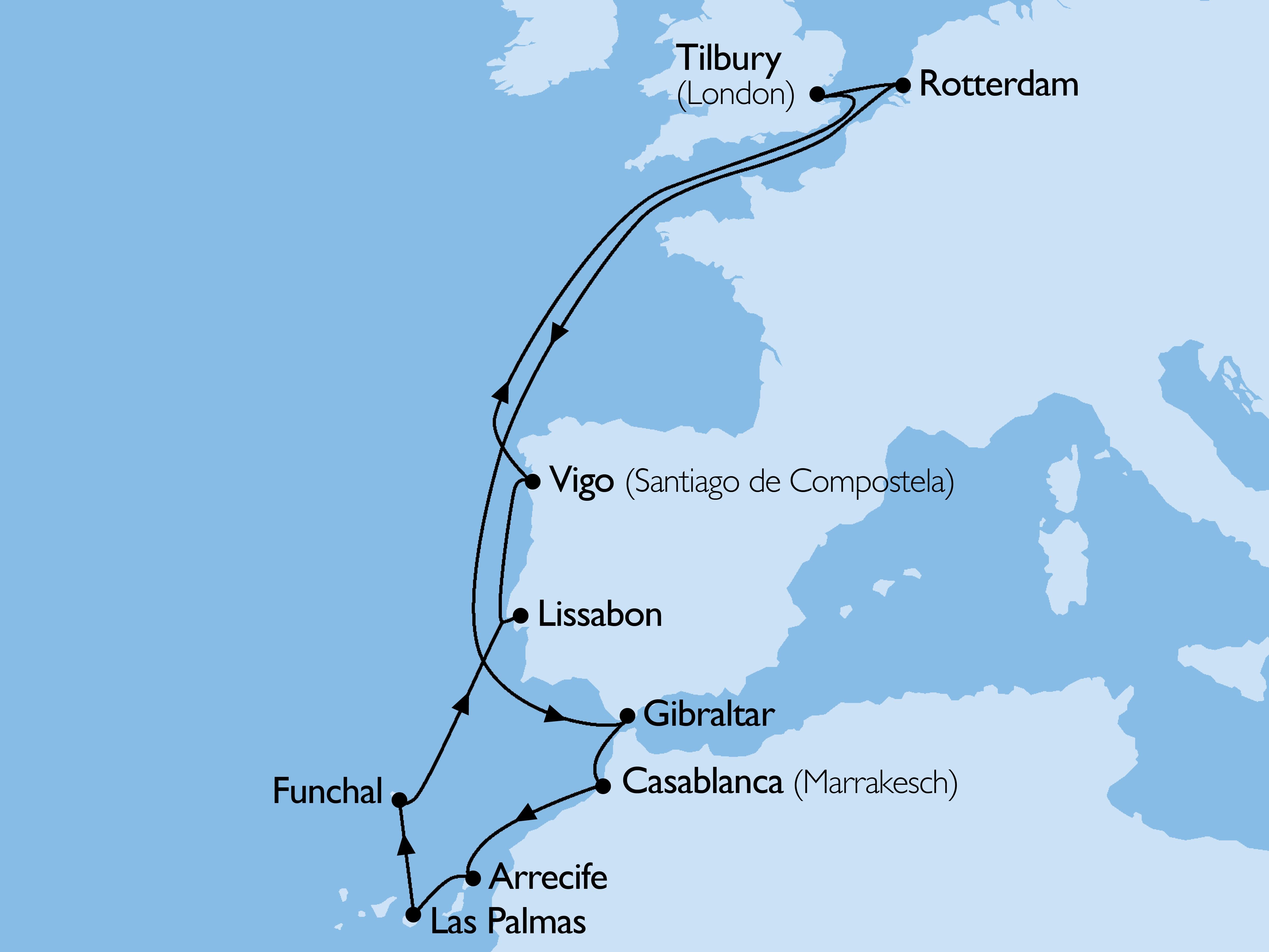 Columbus, Canarische Eilanden, Madeira & Casablanca