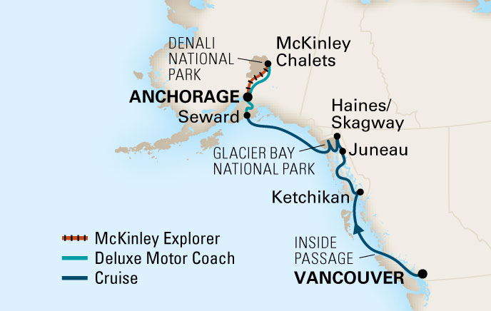 Vaarschema Alaska begeleide cruise